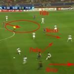 Fig.4 - Pedro viene incontro al portatore di palla liberando lo spazio per Dani Alves, che attacca la profondità