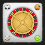 Symbol white roulette casino for sports betting with football soccer, baseball and tennis balls. Bright bookmaker icon of gambling excitement. Vector Illustration.