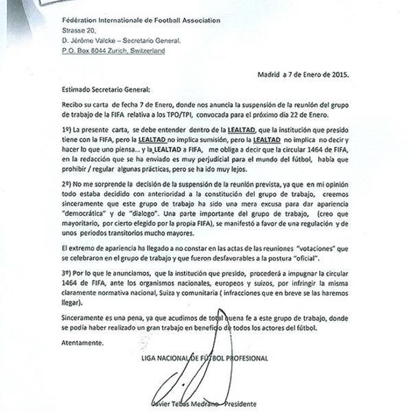 Lettera della lega calcio spagnola