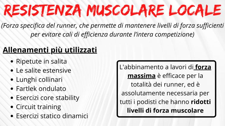resistenza muscolare locale corsa